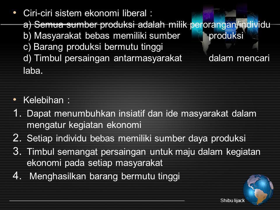 Ciri-ciri sistem ekonomi liberal : a) Semua sumber produksi adalah milik perorangan/individu b) Masyarakat bebas memiliki sumber produksi c) Barang pr