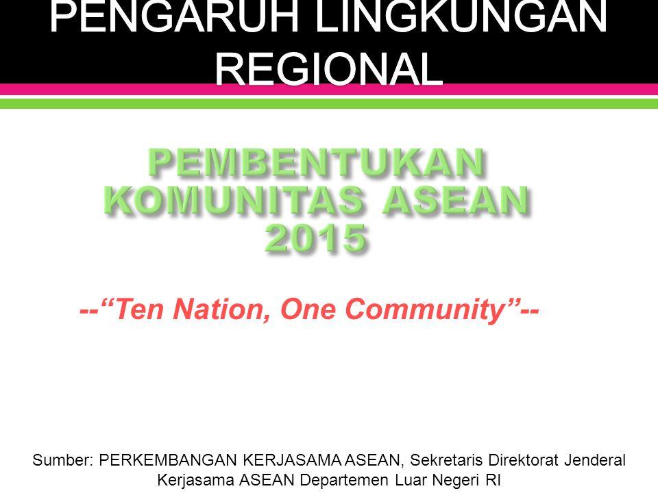 -- Ten Nation, One Community -- Sumber: PERKEMBANGAN KERJASAMA ASEAN, Sekretaris Direktorat Jenderal Kerjasama ASEAN Departemen Luar Negeri RI