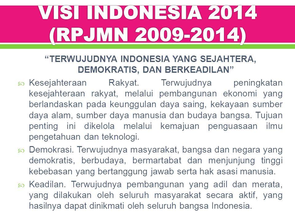 TERWUJUDNYA INDONESIA YANG SEJAHTERA, DEMOKRATIS, DAN BERKEADILAN  Kesejahteraan Rakyat.