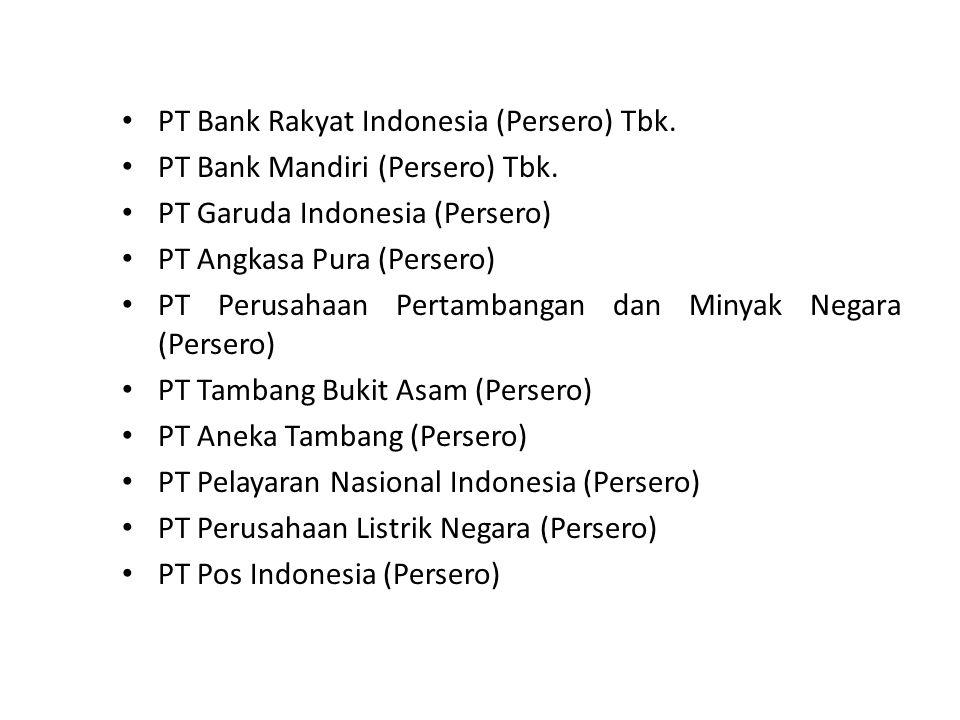 PT Bank Rakyat Indonesia (Persero) Tbk. PT Bank Mandiri (Persero) Tbk. PT Garuda Indonesia (Persero) PT Angkasa Pura (Persero) PT Perusahaan Pertamban