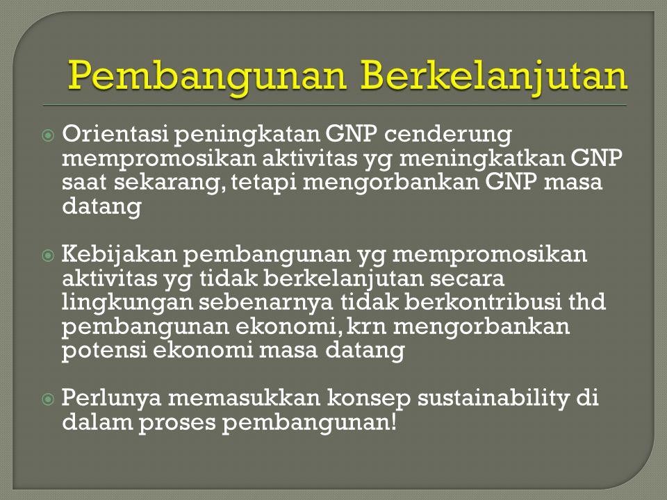  Orientasi peningkatan GNP cenderung mempromosikan aktivitas yg meningkatkan GNP saat sekarang, tetapi mengorbankan GNP masa datang  Kebijakan pembangunan yg mempromosikan aktivitas yg tidak berkelanjutan secara lingkungan sebenarnya tidak berkontribusi thd pembangunan ekonomi, krn mengorbankan potensi ekonomi masa datang  Perlunya memasukkan konsep sustainability di dalam proses pembangunan!