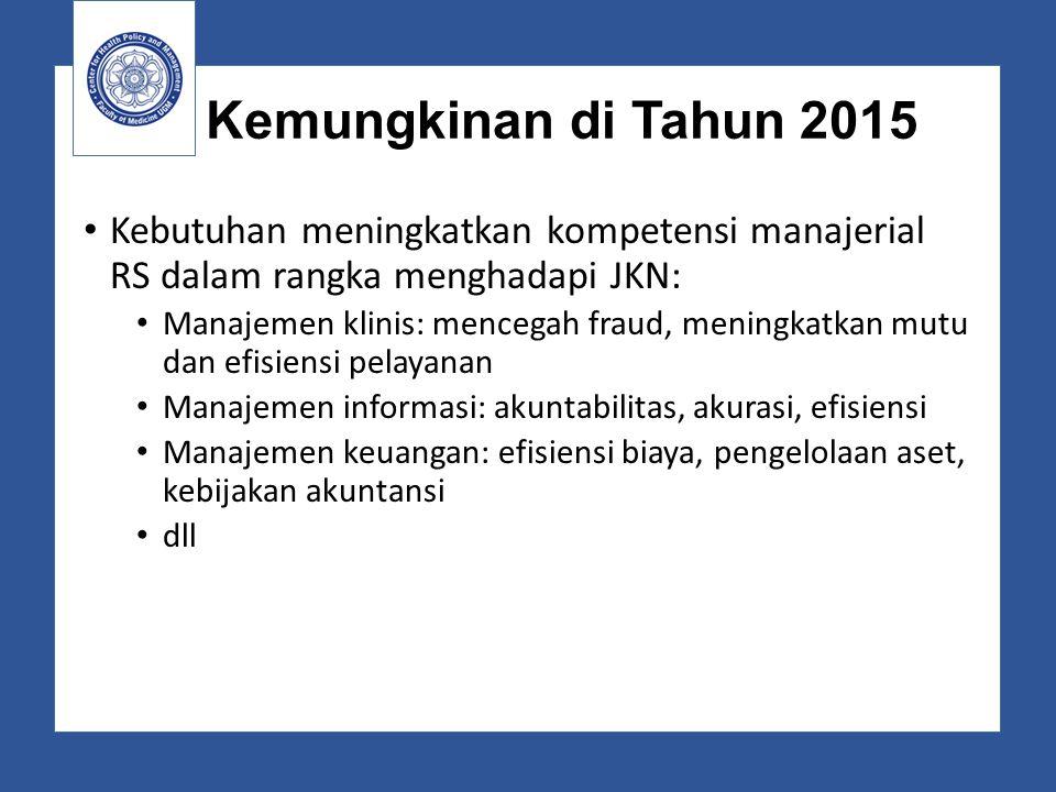 Kemungkinan di Tahun 2015 Kebutuhan meningkatkan kompetensi manajerial RS dalam rangka menghadapi JKN: Manajemen klinis: mencegah fraud, meningkatkan