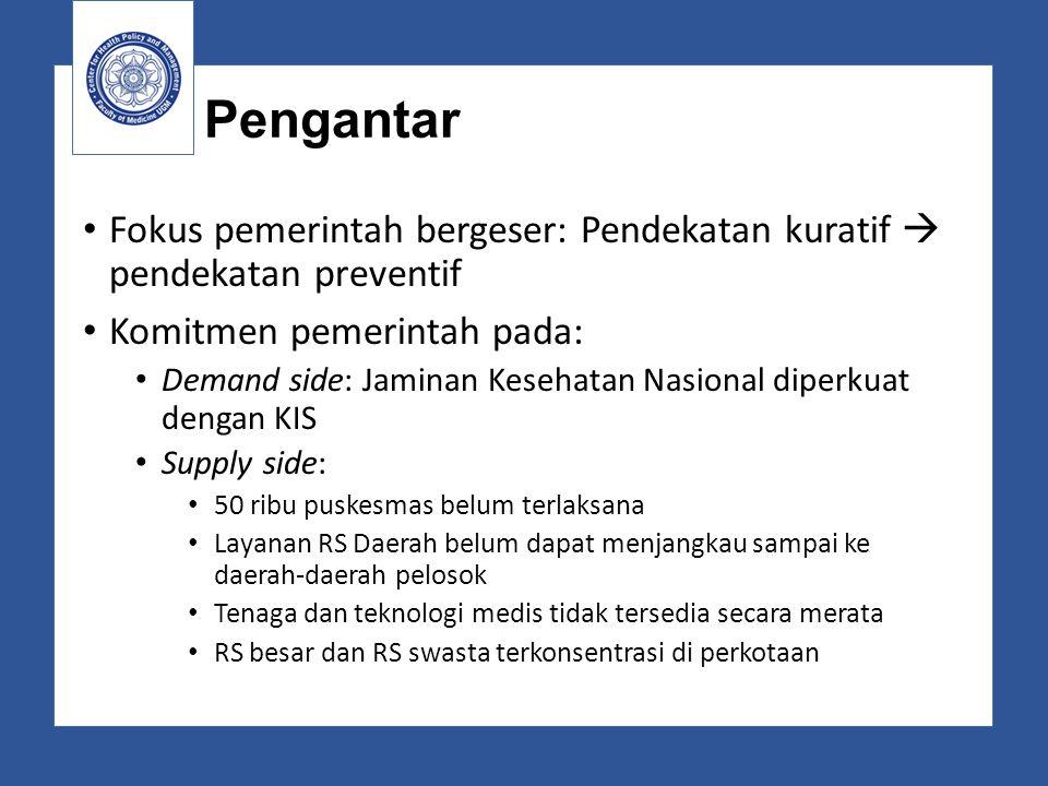 Pengantar Fokus pemerintah bergeser: Pendekatan kuratif  pendekatan preventif Komitmen pemerintah pada: Demand side: Jaminan Kesehatan Nasional diper
