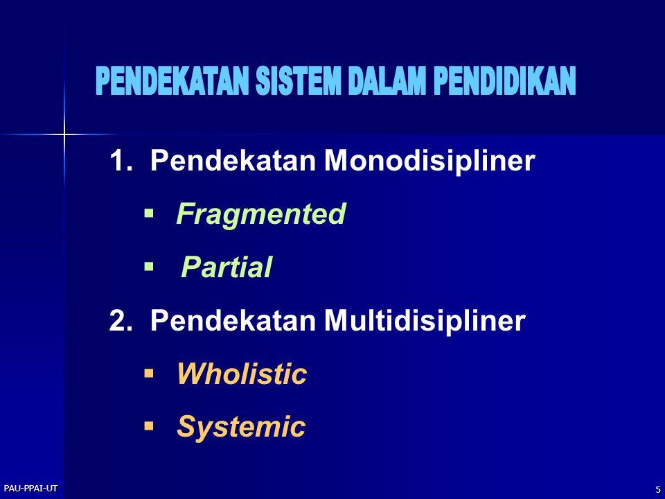 PAU-PPAI-UT 5 1. Pendekatan Monodisipliner  Fragmented  Partial 2. Pendekatan Multidisipliner  Wholistic  Systemic