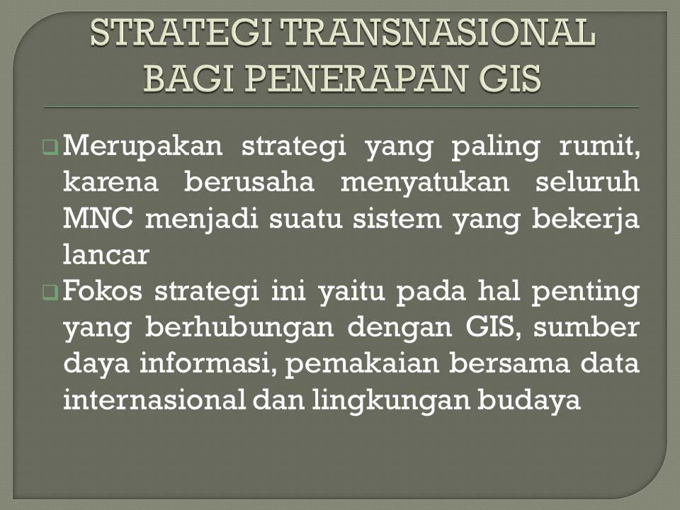  Merupakan strategi yang paling rumit, karena berusaha menyatukan seluruh MNC menjadi suatu sistem yang bekerja lancar  Fokos strategi ini yaitu pada hal penting yang berhubungan dengan GIS, sumber daya informasi, pemakaian bersama data internasional dan lingkungan budaya