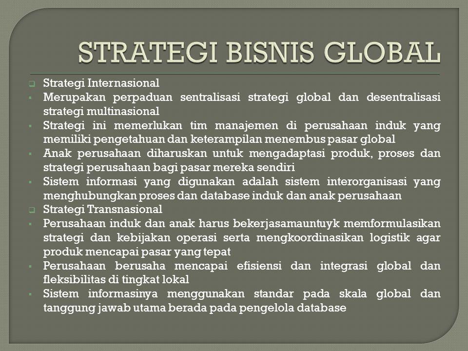  Sistem informasi yang digunakan MNC saat mengikuti empat strategi bisnis tersebut adalah Sistem Informasi Global (global information system) atau GIS  GIS adalah suatu sistem yang terdiri dari jaringan-jaringan yang melintasi batas- batas negara