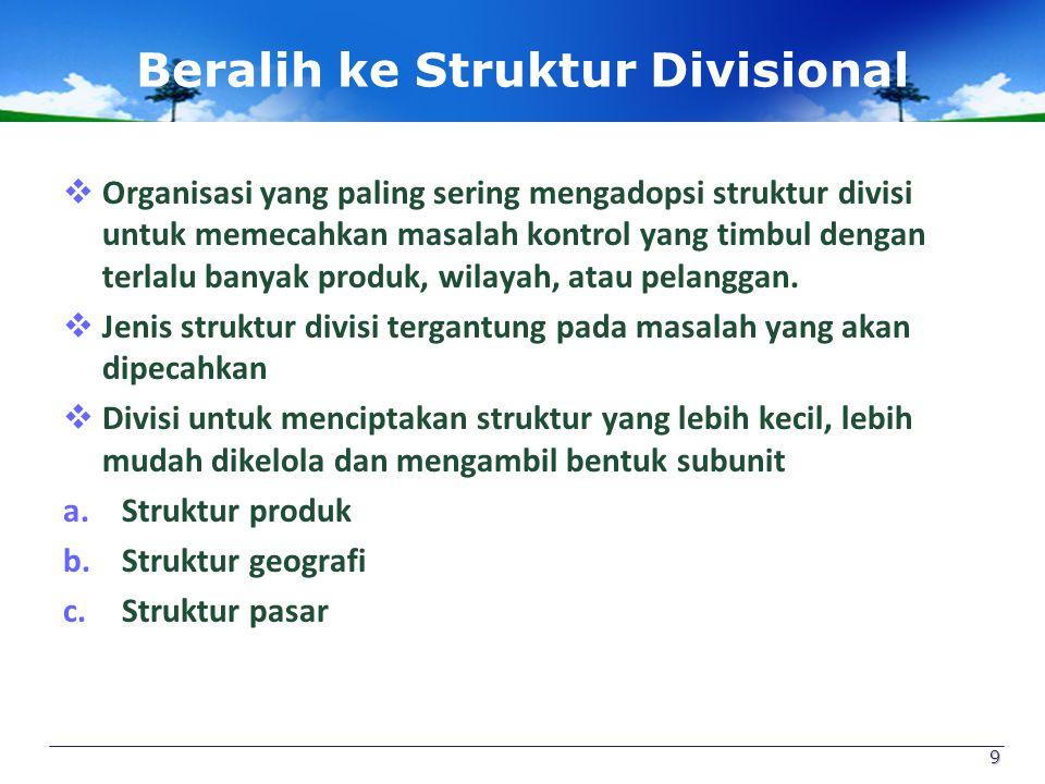 Beralih ke Struktur Divisional  Organisasi yang paling sering mengadopsi struktur divisi untuk memecahkan masalah kontrol yang timbul dengan terlalu