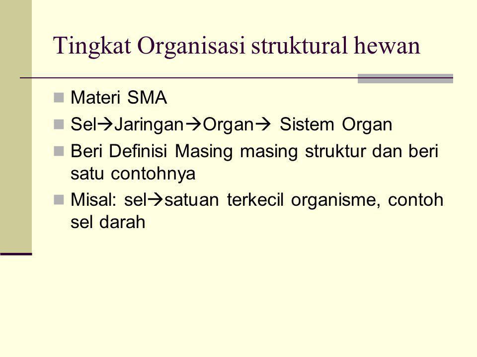Tingkat Organisasi struktural hewan Materi SMA Sel  Jaringan  Organ  Sistem Organ Beri Definisi Masing masing struktur dan beri satu contohnya Misal: sel  satuan terkecil organisme, contoh sel darah