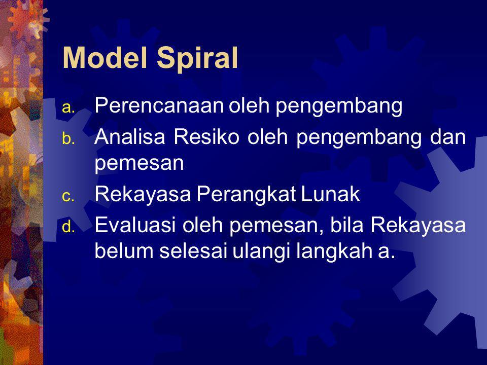 Model Spiral a. Perencanaan oleh pengembang b. Analisa Resiko oleh pengembang dan pemesan c. Rekayasa Perangkat Lunak d. Evaluasi oleh pemesan, bila R