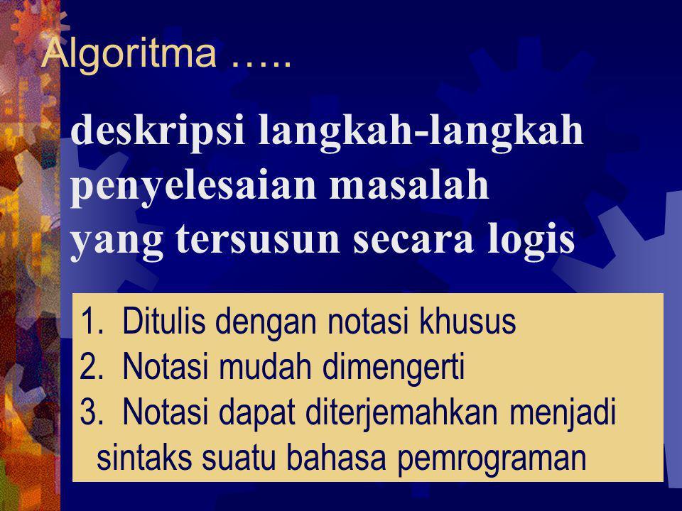 Algoritma ….. deskripsi langkah-langkah penyelesaian masalah yang tersusun secara logis 1. Ditulis dengan notasi khusus 2. Notasi mudah dimengerti 3.
