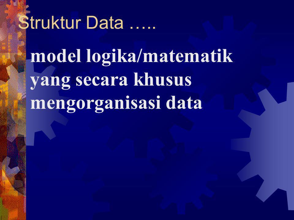 Struktur Data ….. model logika/matematik yang secara khusus mengorganisasi data