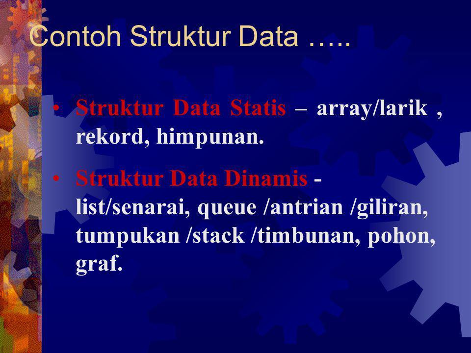 Contoh Struktur Data ….. Struktur Data Statis – array/larik, rekord, himpunan. Struktur Data Dinamis - list/senarai, queue /antrian /giliran, tumpukan