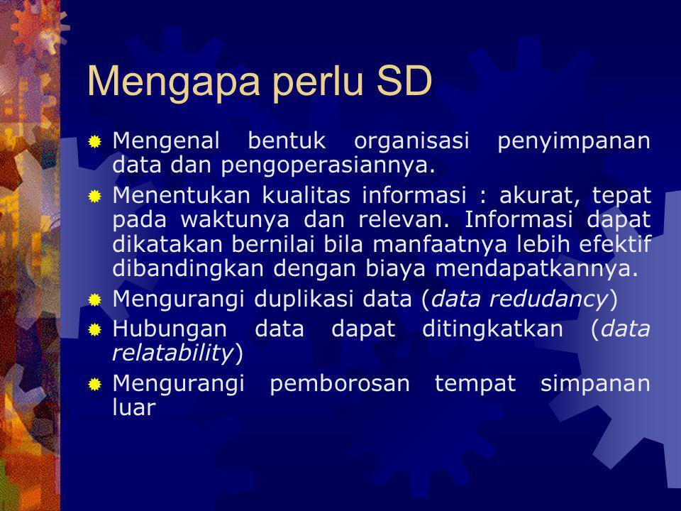 Mengapa perlu SD  Mengenal bentuk organisasi penyimpanan data dan pengoperasiannya.  Menentukan kualitas informasi : akurat, tepat pada waktunya dan