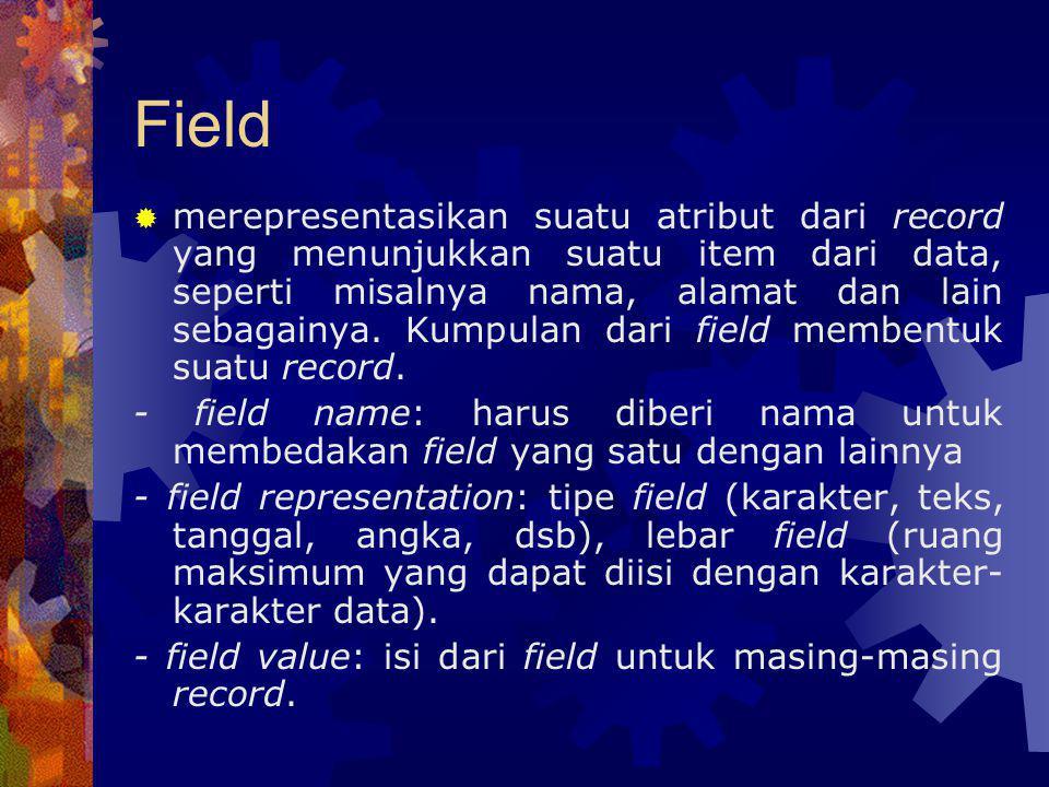 Field  merepresentasikan suatu atribut dari record yang menunjukkan suatu item dari data, seperti misalnya nama, alamat dan lain sebagainya. Kumpulan