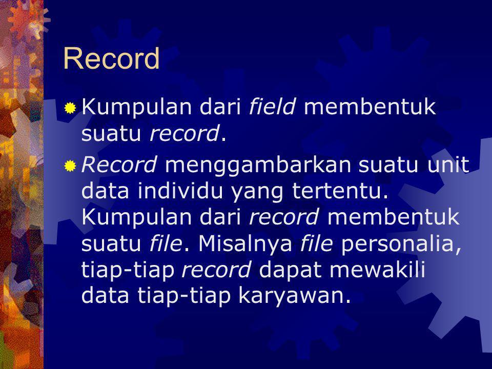 Record  Kumpulan dari field membentuk suatu record.  Record menggambarkan suatu unit data individu yang tertentu. Kumpulan dari record membentuk sua