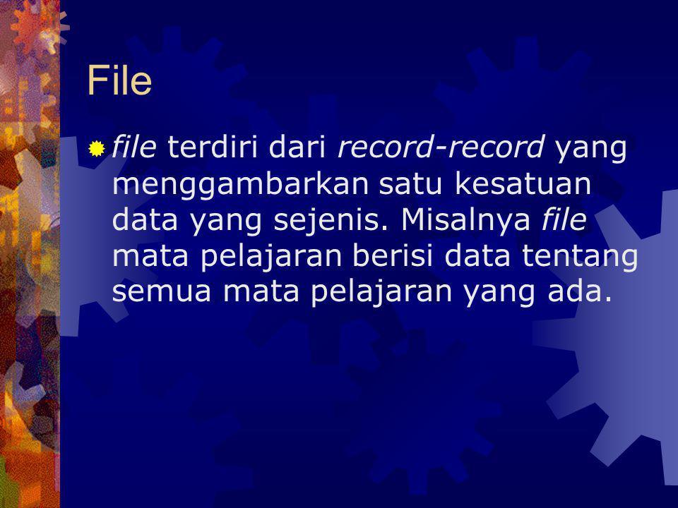 File  file terdiri dari record-record yang menggambarkan satu kesatuan data yang sejenis. Misalnya file mata pelajaran berisi data tentang semua mata