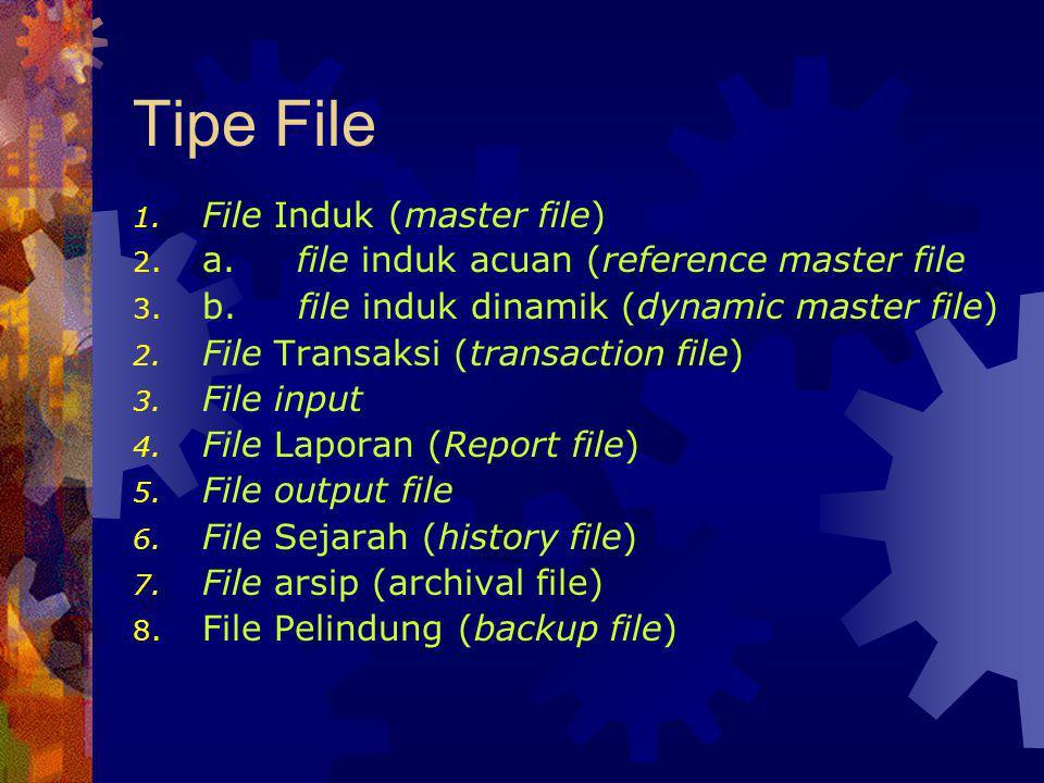 Tipe File 1. File Induk (master file) 2. a. file induk acuan (reference master file 3. b. file induk dinamik (dynamic master file) 2. File Transaksi (