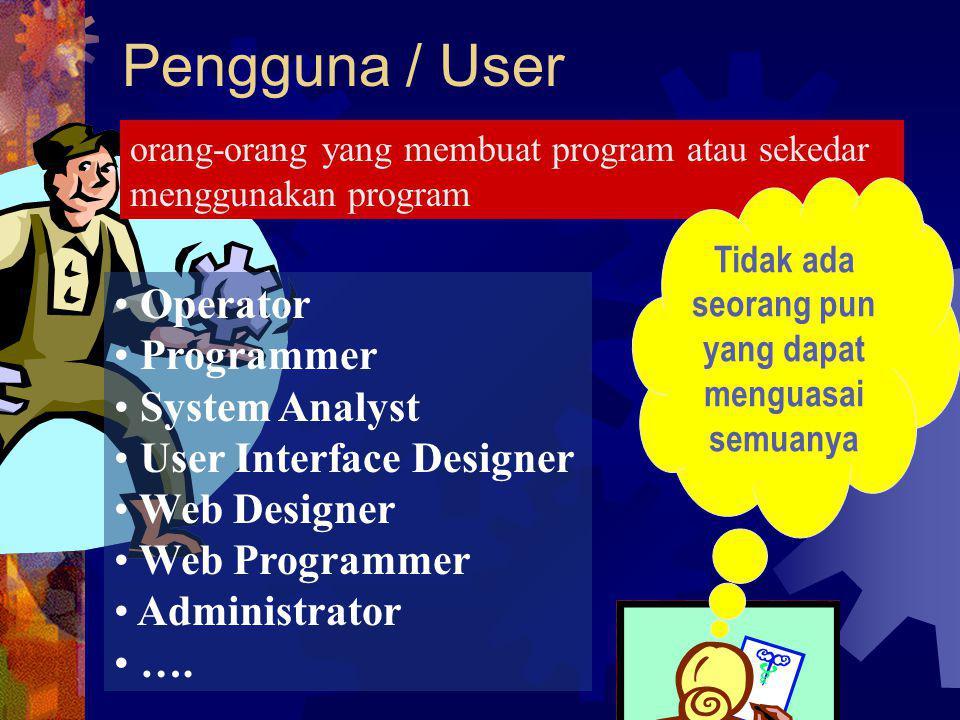 Pengguna / User orang-orang yang membuat program atau sekedar menggunakan program Operator Programmer System Analyst User Interface Designer Web Desig