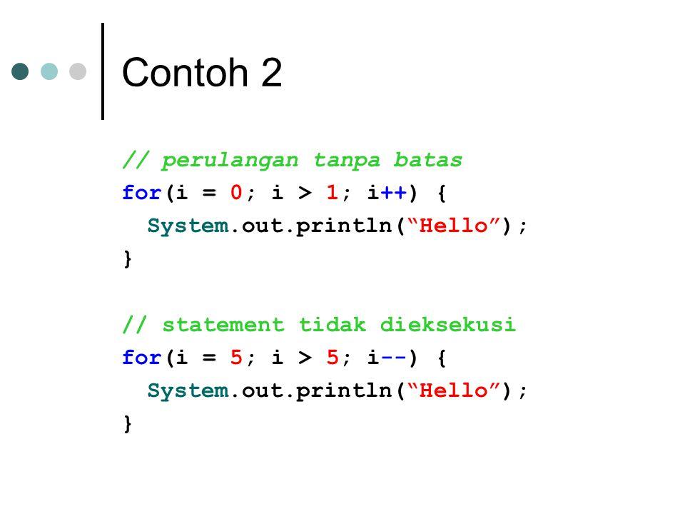 Contoh 2 // perulangan tanpa batas for(i = 0; i > 1; i++) { System.out.println( Hello ); } // statement tidak dieksekusi for(i = 5; i > 5; i--) { System.out.println( Hello ); }