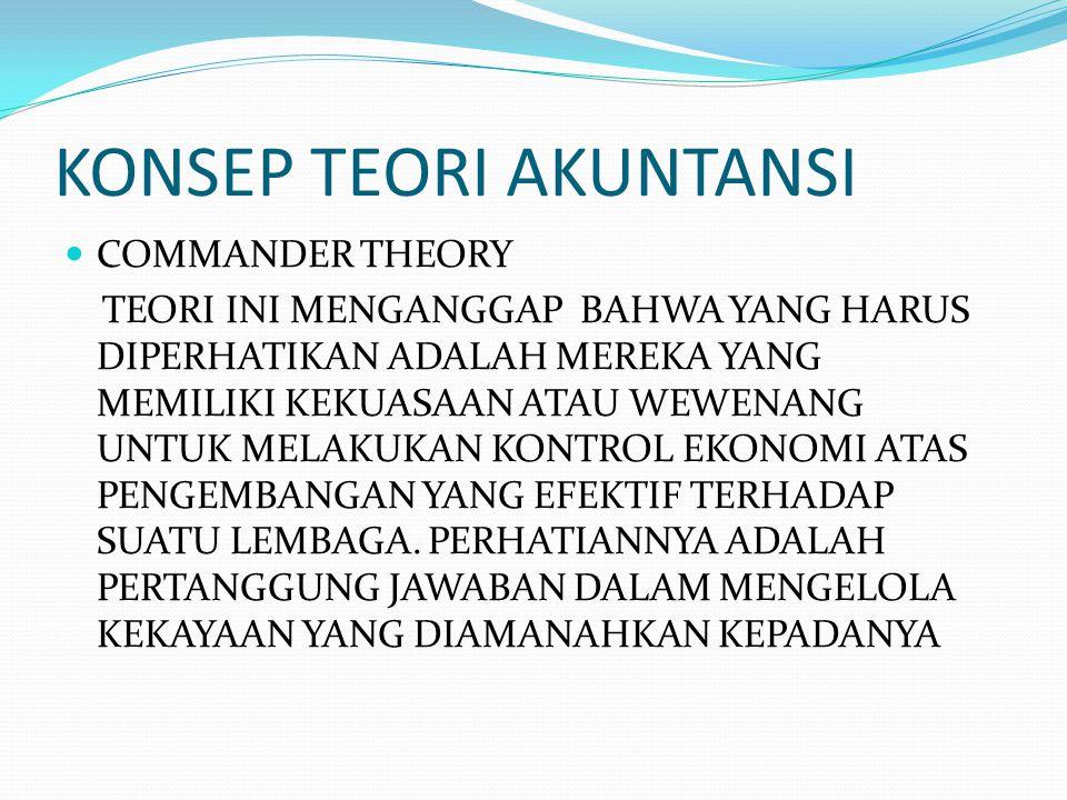 KONSEP TEORI AKUNTANSI COMMANDER THEORY TEORI INI MENGANGGAP BAHWA YANG HARUS DIPERHATIKAN ADALAH MEREKA YANG MEMILIKI KEKUASAAN ATAU WEWENANG UNTUK M