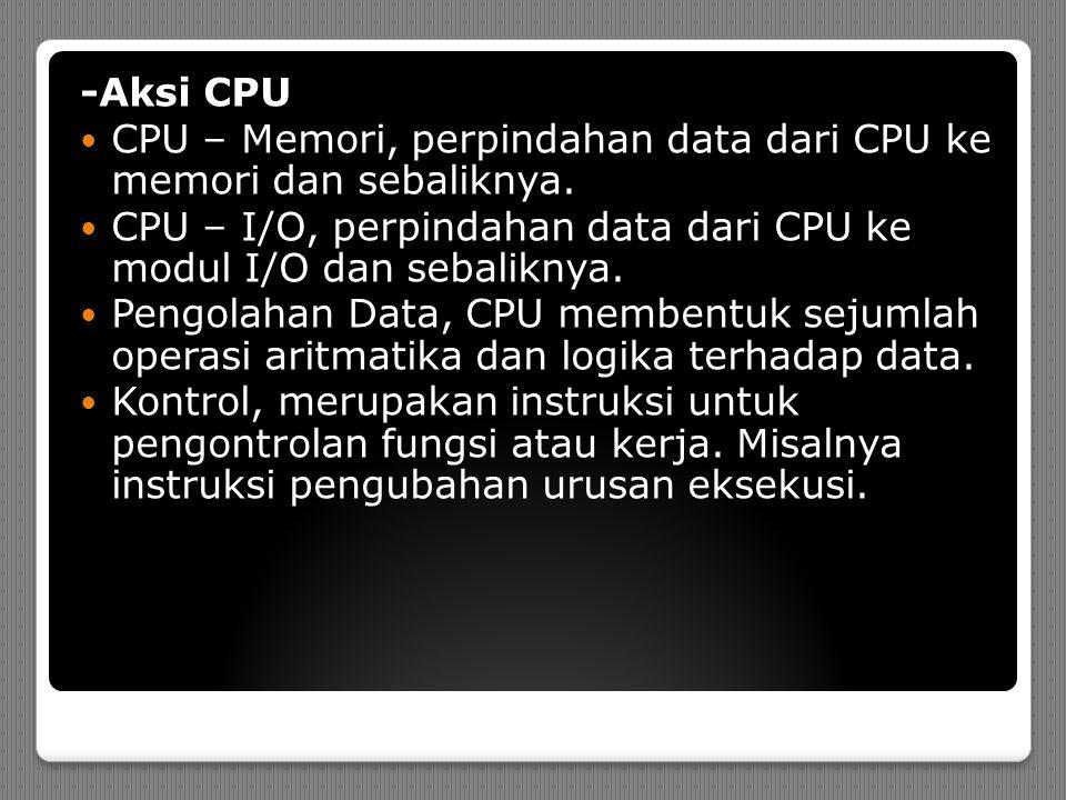 -Aksi CPU CPU – Memori, perpindahan data dari CPU ke memori dan sebaliknya.