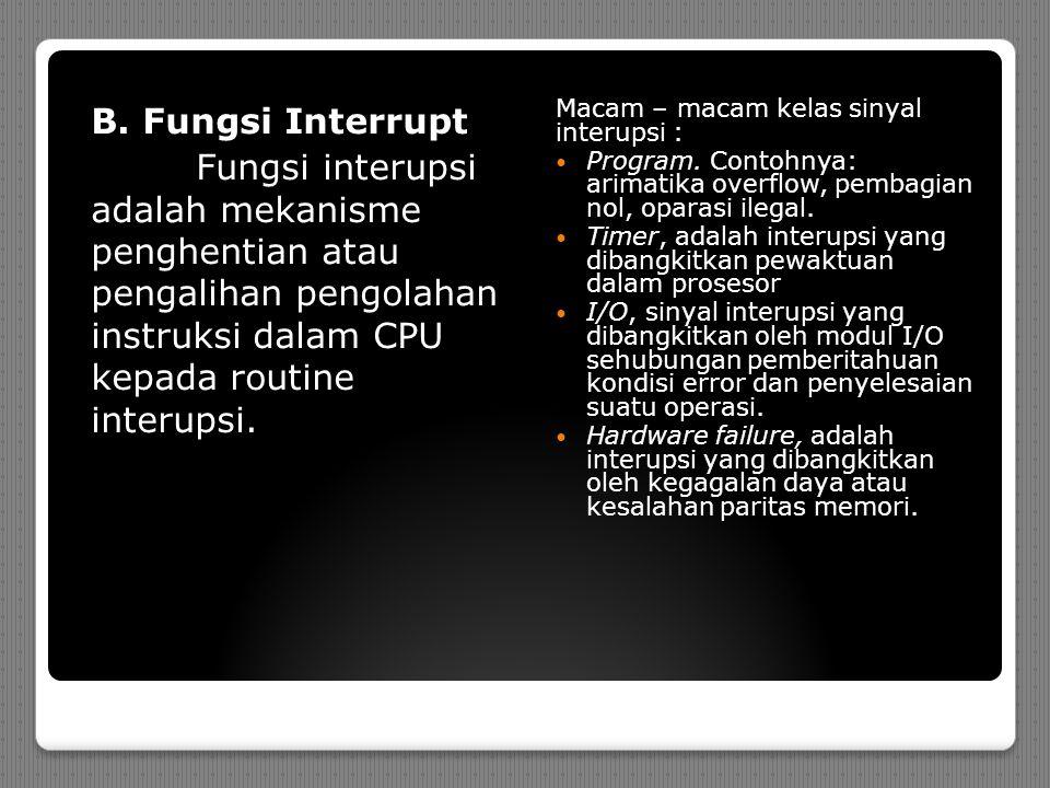 B. Fungsi Interrupt Fungsi interupsi adalah mekanisme penghentian atau pengalihan pengolahan instruksi dalam CPU kepada routine interupsi. Macam – mac