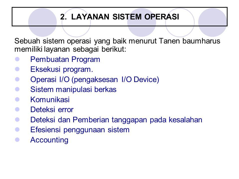 2. LAYANAN SISTEM OPERASI Sebuah sistem operasi yang baik menurut Tanen baumharus memiliki layanan sebagai berikut: Pembuatan Program Eksekusi program