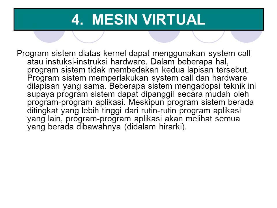4. MESIN VIRTUAL Program sistem diatas kernel dapat menggunakan system call atau instuksi-instruksi hardware. Dalam beberapa hal, program sistem tidak