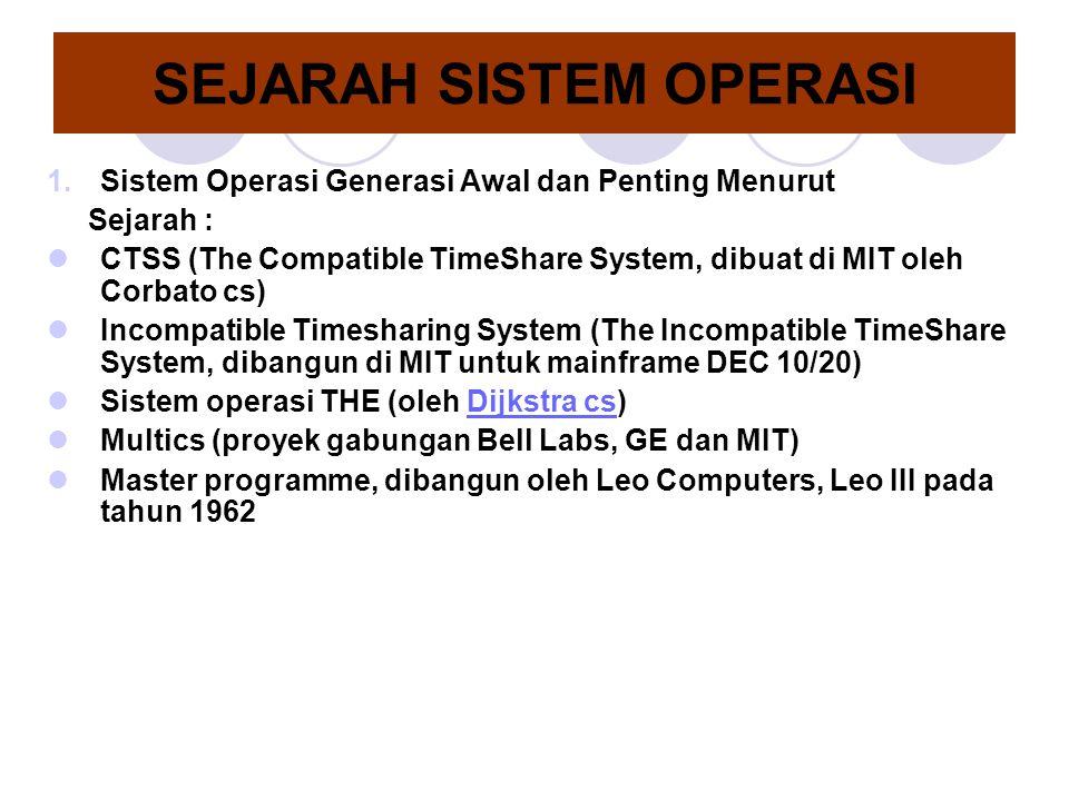 SEJARAH SISTEM OPERASI 1.Sistem Operasi Generasi Awal dan Penting Menurut Sejarah : CTSS (The Compatible TimeShare System, dibuat di MIT oleh Corbato