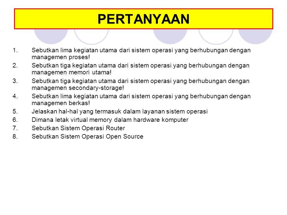 PERTANYAAN 1.Sebutkan lima kegiatan utama dari sistem operasi yang berhubungan dengan managemen proses! 2.Sebutkan tiga kegiatan utama dari sistem ope