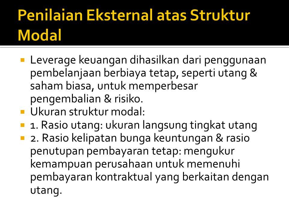  Tipe modal: 1. utang jangka panjang; 2. saham preferen; 3. ekuitas saham biasa.  Biaya utang lebih rendah daripada biaya bentuk pembelanjaan yang l