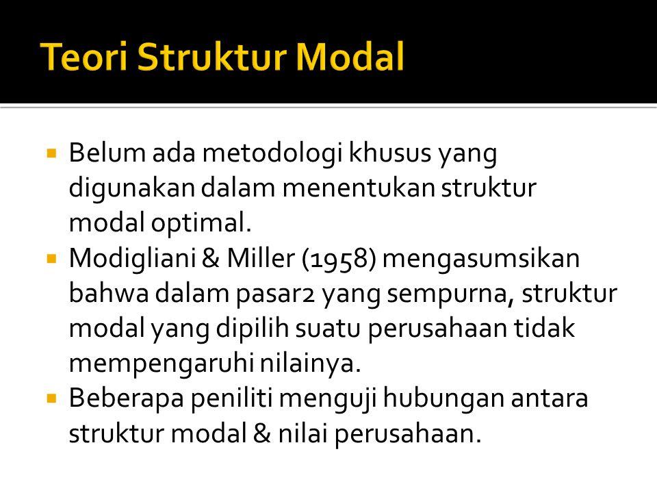  Belum ada metodologi khusus yang digunakan dalam menentukan struktur modal optimal.