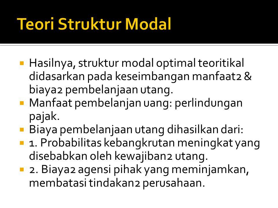  Belum ada metodologi khusus yang digunakan dalam menentukan struktur modal optimal.  Modigliani & Miller (1958) mengasumsikan bahwa dalam pasar2 ya