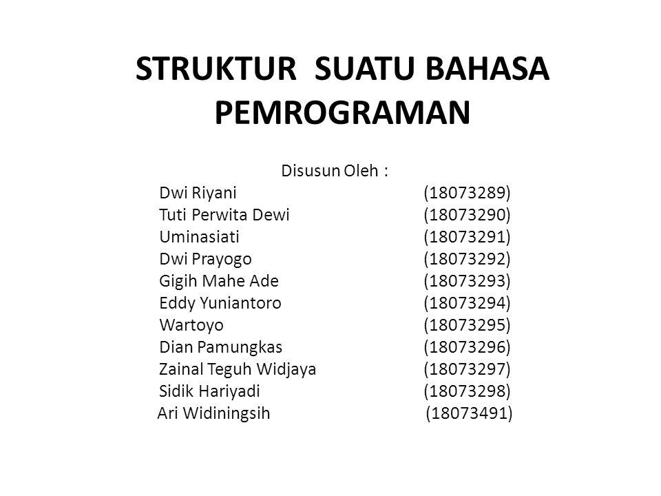 STRUKTUR SUATU BAHASA PEMROGRAMAN Disusun Oleh : Dwi Riyani(18073289) Tuti Perwita Dewi (18073290) Uminasiati(18073291) Dwi Prayogo(18073292) Gigih Mahe Ade (18073293) Eddy Yuniantoro (18073294) Wartoyo (18073295) Dian Pamungkas (18073296) Zainal Teguh Widjaya(18073297) Sidik Hariyadi(18073298) Ari Widiningsih (18073491)
