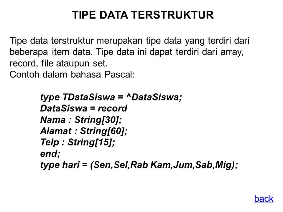 TIPE DATA TERSTRUKTUR Tipe data terstruktur merupakan tipe data yang terdiri dari beberapa item data.