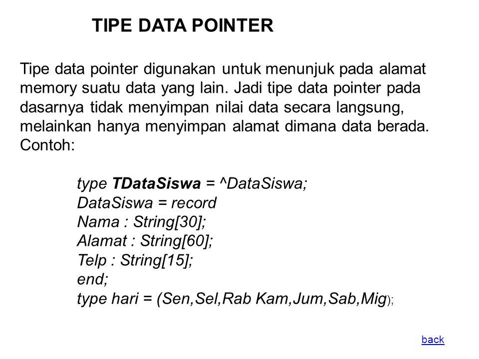 TIPE DATA POINTER Tipe data pointer digunakan untuk menunjuk pada alamat memory suatu data yang lain.