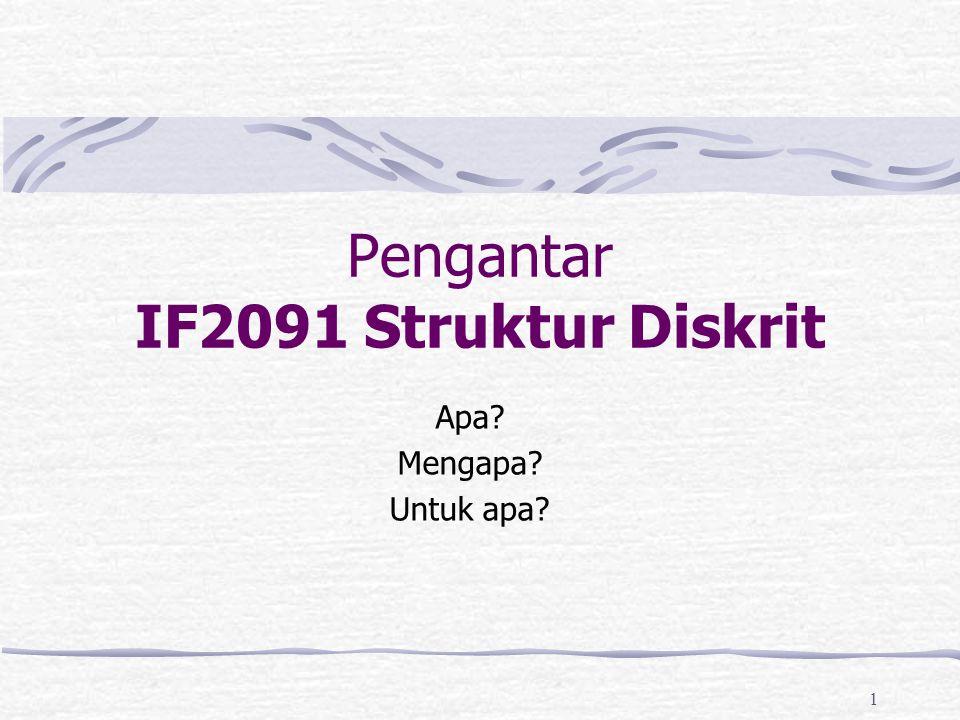 1 Pengantar IF2091 Struktur Diskrit Apa? Mengapa? Untuk apa?