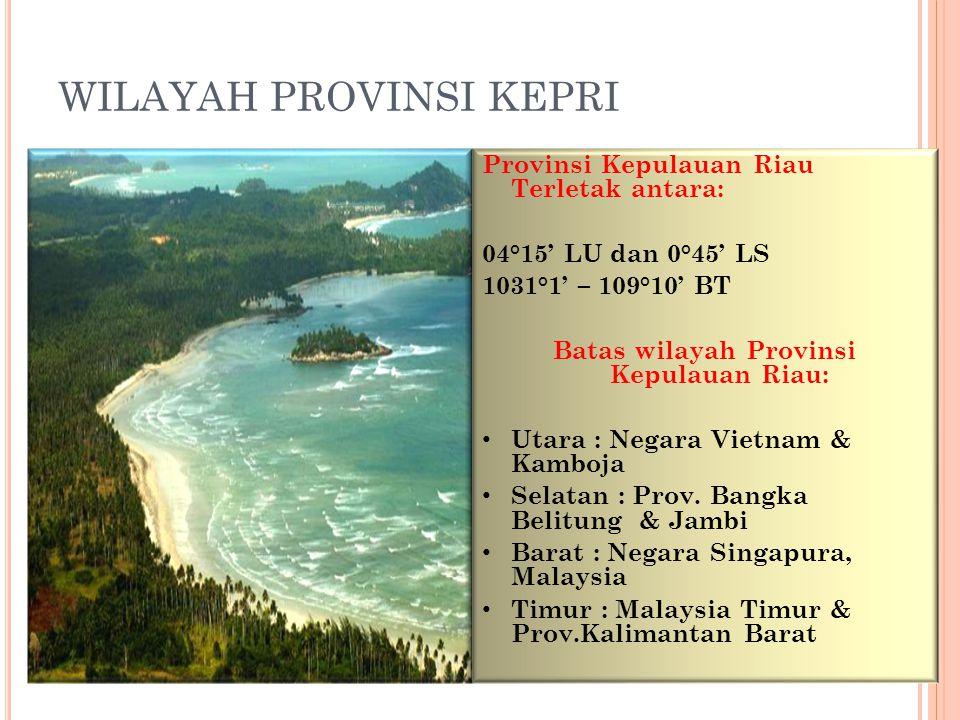 KAB.NATUNA Luas : 95.237 km2 Darat : 2.645 km2 Laut : 92.591 km2 KAB.