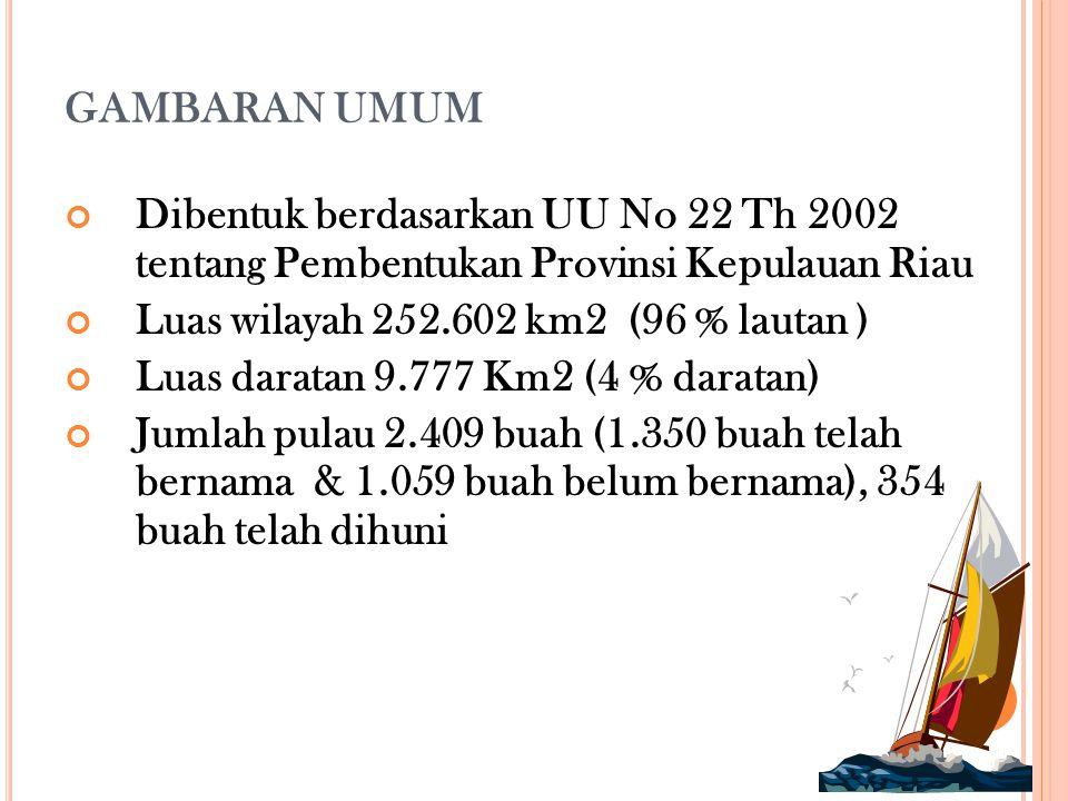 GAMBARAN UMUM Dibentuk berdasarkan UU No 22 Th 2002 tentang Pembentukan Provinsi Kepulauan Riau Luas wilayah 252.602 km2 (96 % lautan ) Luas daratan 9.777 Km2 (4 % daratan) Jumlah pulau 2.409 buah (1.350 buah telah bernama & 1.059 buah belum bernama), 354 buah telah dihuni