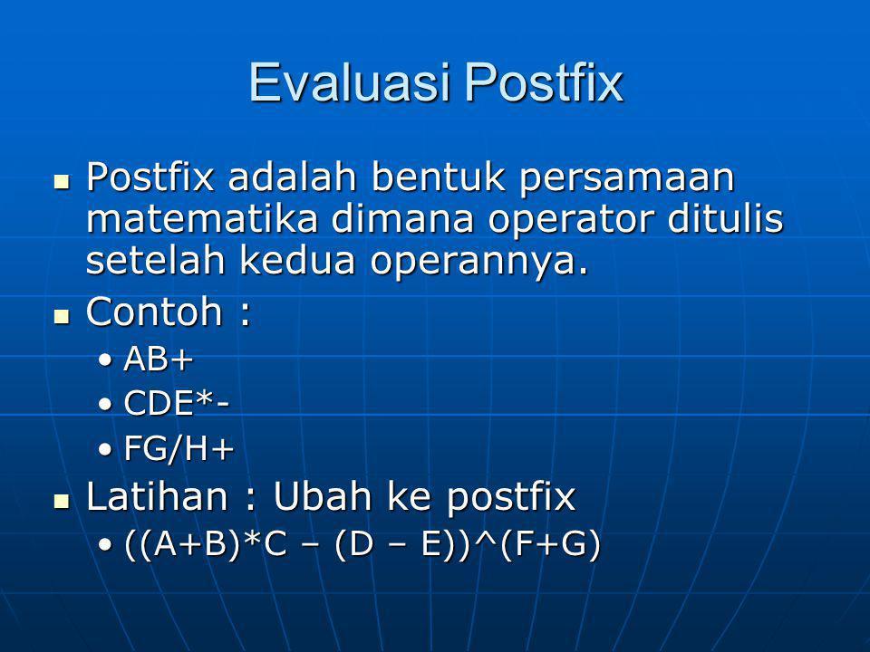 Evaluasi Postfix Postfix adalah bentuk persamaan matematika dimana operator ditulis setelah kedua operannya. Postfix adalah bentuk persamaan matematik