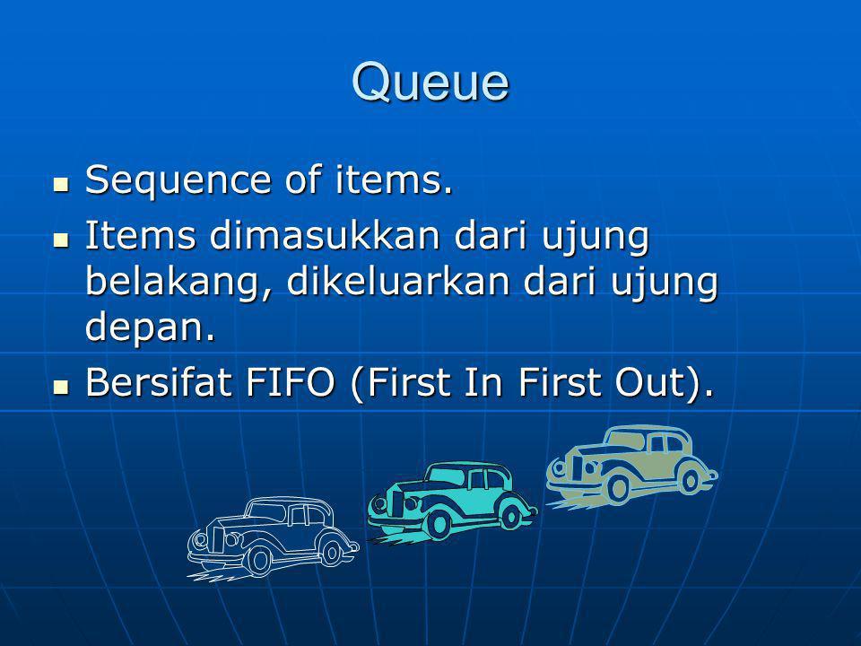 Queue Sequence of items. Sequence of items. Items dimasukkan dari ujung belakang, dikeluarkan dari ujung depan. Items dimasukkan dari ujung belakang,