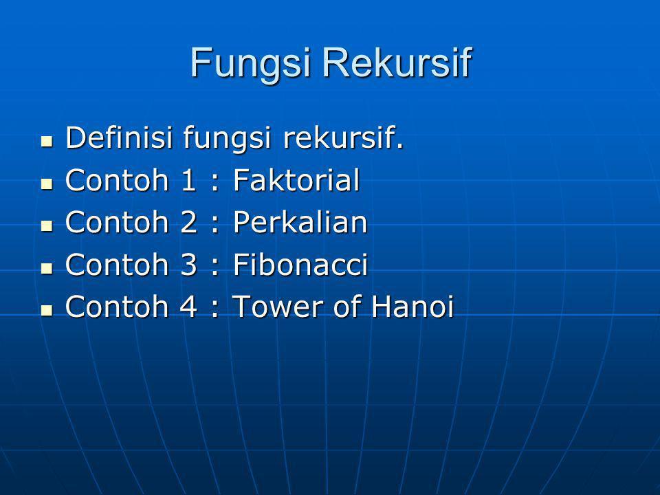 Fungsi Rekursif Definisi fungsi rekursif. Definisi fungsi rekursif. Contoh 1 : Faktorial Contoh 1 : Faktorial Contoh 2 : Perkalian Contoh 2 : Perkalia