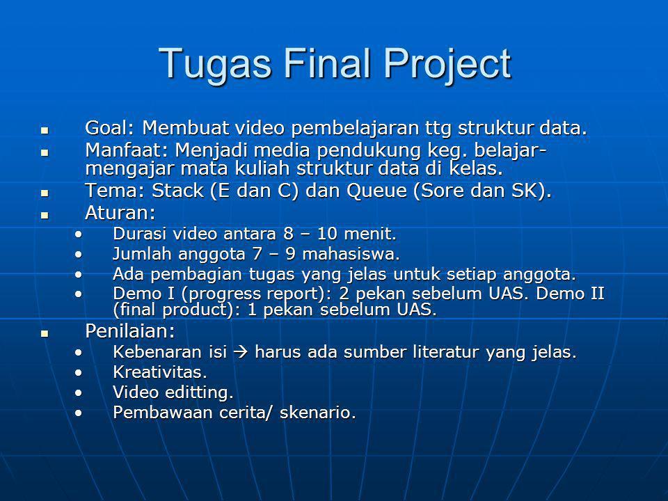 Tugas Final Project Goal: Membuat video pembelajaran ttg struktur data. Goal: Membuat video pembelajaran ttg struktur data. Manfaat: Menjadi media pen