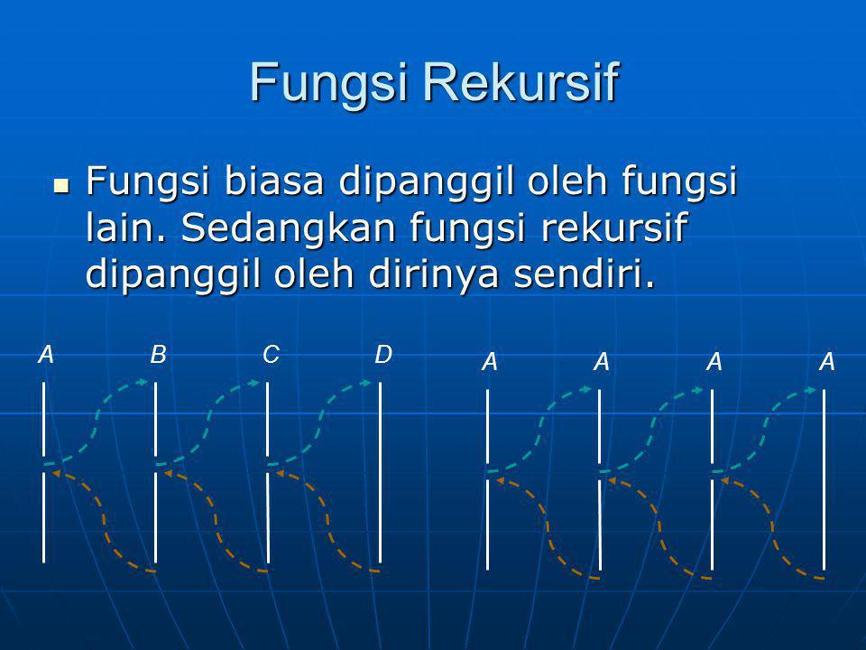 Fungsi Rekursif Fungsi biasa dipanggil oleh fungsi lain. Sedangkan fungsi rekursif dipanggil oleh dirinya sendiri. Fungsi biasa dipanggil oleh fungsi