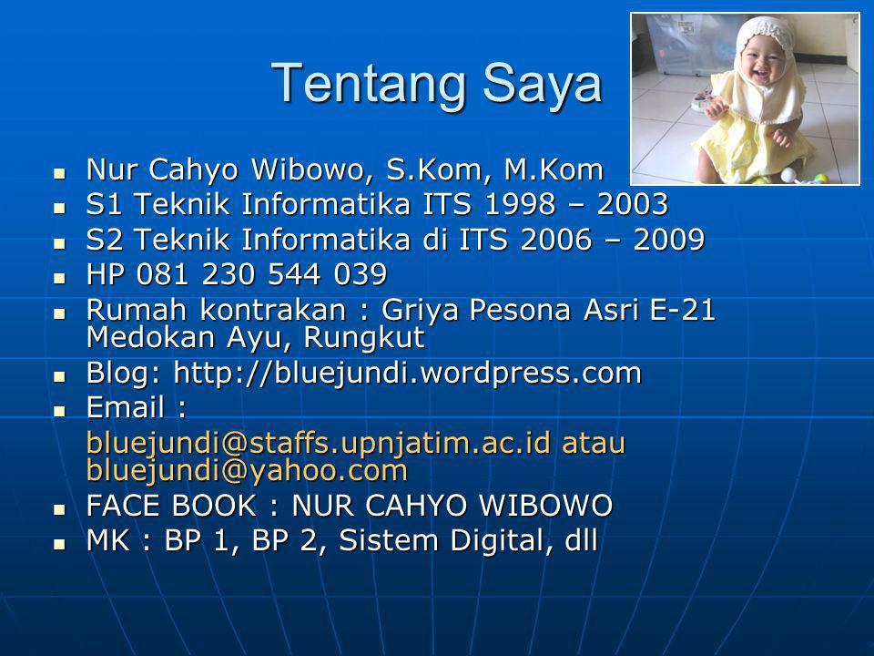 Tentang Saya Nur Cahyo Wibowo, S.Kom, M.Kom Nur Cahyo Wibowo, S.Kom, M.Kom S1 Teknik Informatika ITS 1998 – 2003 S1 Teknik Informatika ITS 1998 – 2003