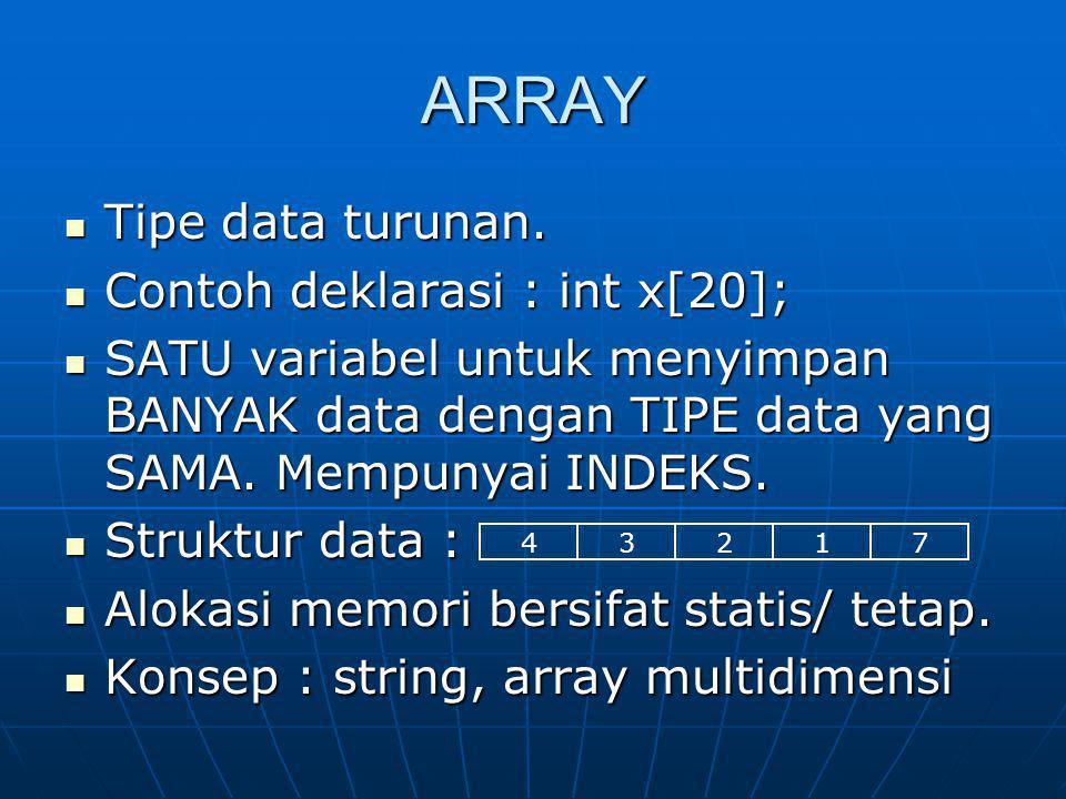 ARRAY Tipe data turunan. Tipe data turunan. Contoh deklarasi : int x[20]; Contoh deklarasi : int x[20]; SATU variabel untuk menyimpan BANYAK data deng