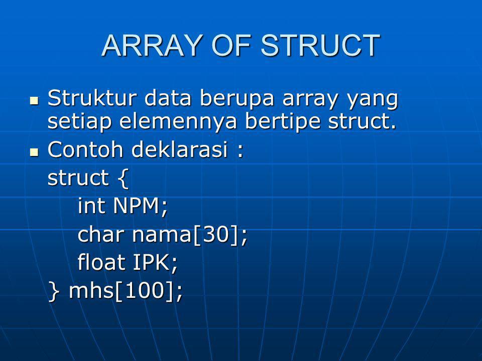 ARRAY OF STRUCT Struktur data berupa array yang setiap elemennya bertipe struct. Struktur data berupa array yang setiap elemennya bertipe struct. Cont