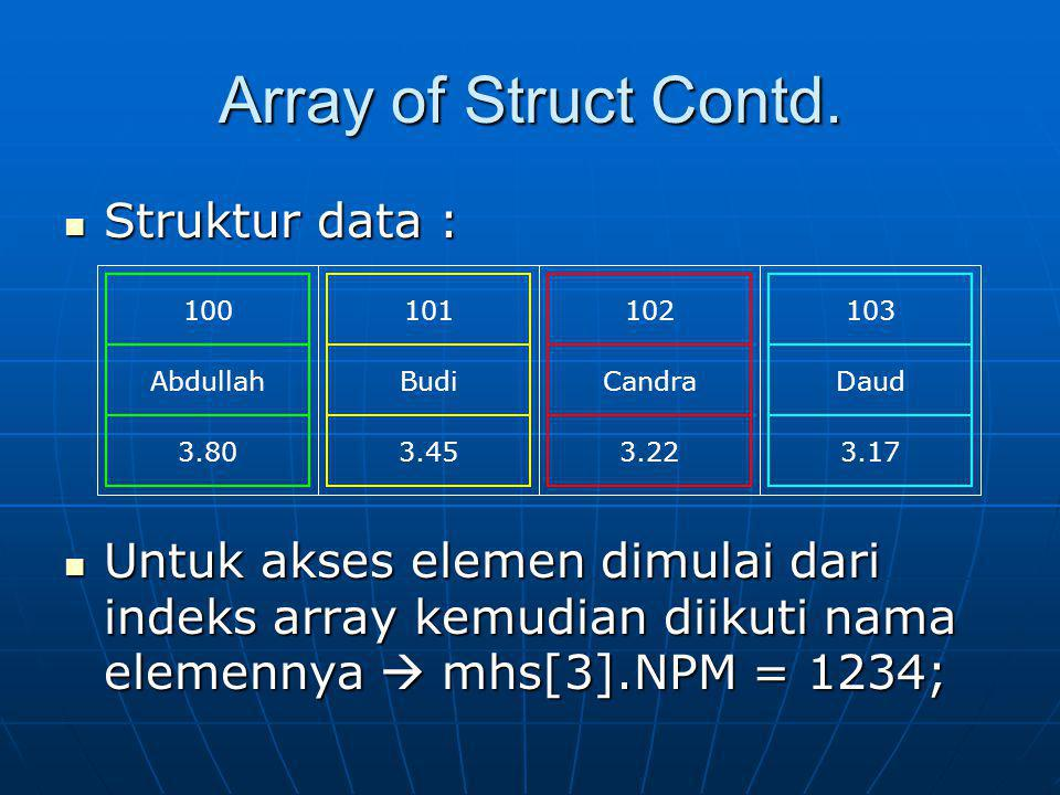 Array of Struct Contd.