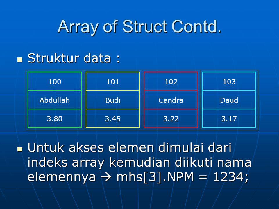Array of Struct Contd. Struktur data : Struktur data : Untuk akses elemen dimulai dari indeks array kemudian diikuti nama elemennya  mhs[3].NPM = 123