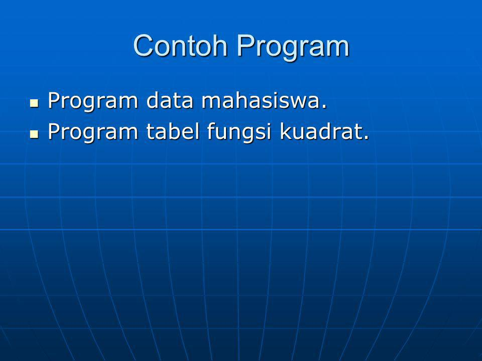 Contoh Program Program data mahasiswa. Program data mahasiswa. Program tabel fungsi kuadrat. Program tabel fungsi kuadrat.